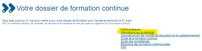 dossier formation continue